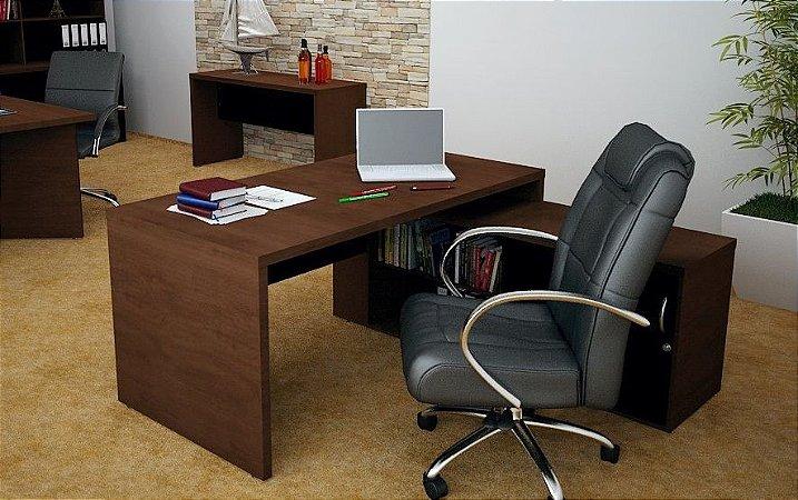 Mesa em L Escritório Diretoria Home Office Armário 1,60 M 36 Mm
