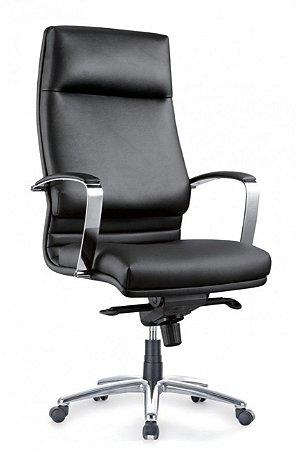 Cadeira Escritório Presidente Poltrona Cromado Braços Giratória Home Office