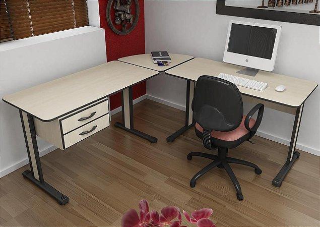 Mesa Escritório L 1,95 X 1,95 M 15 Mm Home Office Escrivaninha 2 Gavetas