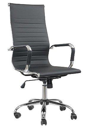 Cadeira Escritório Presidente Esteirinha Braços Fixos Cromado Giratória Home Office