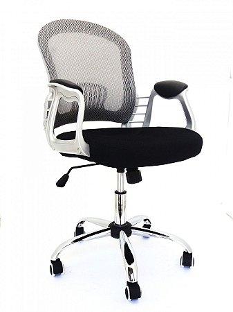 Cadeira Executiva Escritório Home Office Braços Fixos Giratória Cromada