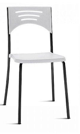 Conjunto 5 Cadeiras Fixa 4 Pés Bliss Multiuso Plastica