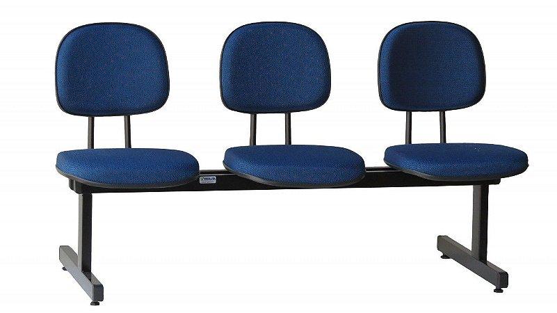 Cadeira Longarina Secretária 3 Lugares Espera Recepção Lounge