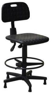 Cadeira Secretária Caixa Industrial Ergonomica Sapatas em PU Giratória Aro Poliuretano