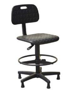 Cadeira Secretária Caixa Industrial  em PU Giratória Sapatas Aro Poliuretano