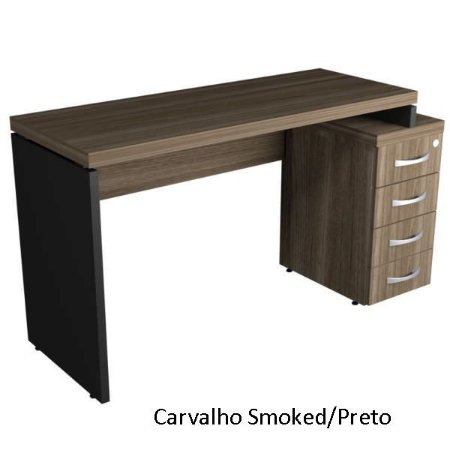 Mesa Reta Escritório Com 4 Gavetas Chave Corporativa 40 mm 1,34 x 0,60 m Home Office Corporativa