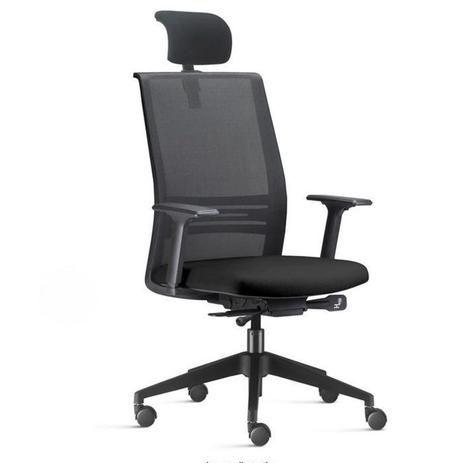 Cadeira Tela Escritório Presidente Braços Reguláveis Apoio de Cabeça Agile Home Office