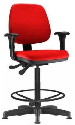 Cadeira Caixa Job Alta Ergonômica Aro Braços Regulaveis Supermercado Atendimento Vallet