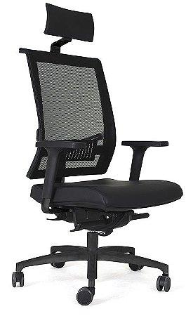 Cadeira Presidente para Escritório Shift com Braços Reguláveis Encosto Tela Apoio de Cabeça Corporativa