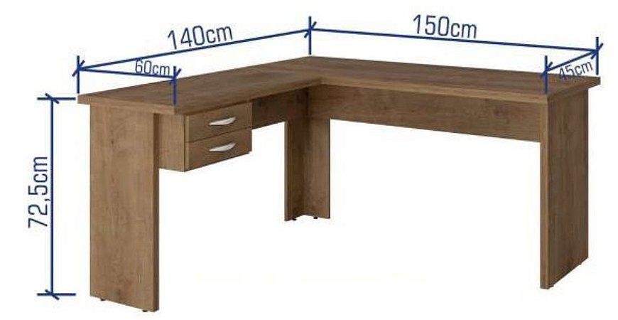 Mesa Escritório em L 1,40 x 1,50 m 2 Gavetas Chave 30 mm Home Office | Pronta Entrega
