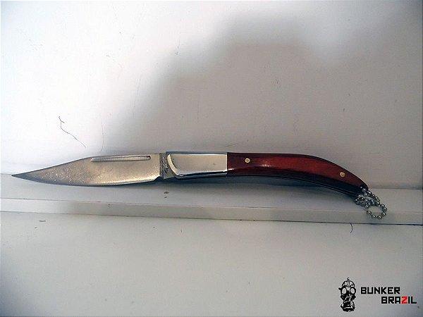 Canivete Chaveiro com cabo de madeira