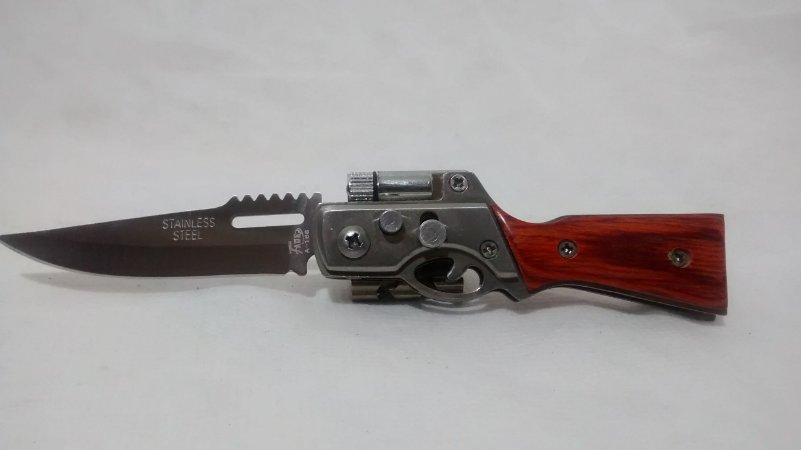 Canivete cabo de espingarda com led
