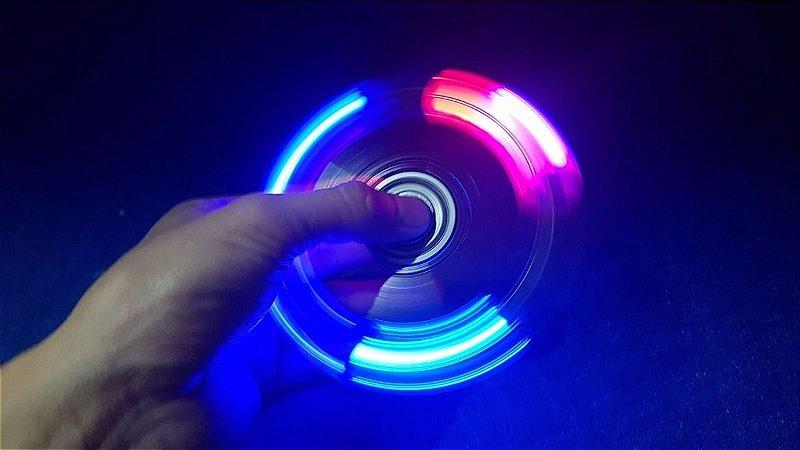 Fidget Hand Spinnercom led - Plastico Branco