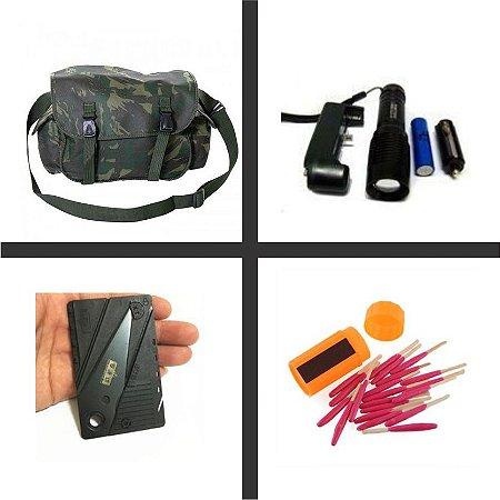Bornal + Lanterna t6 + faca Cartão + Fosforo de emergencia