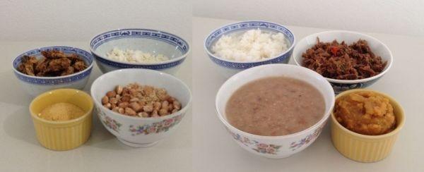 Arroz, feijão com carne e abóbora - comida pronta Liofilizado, ração militar