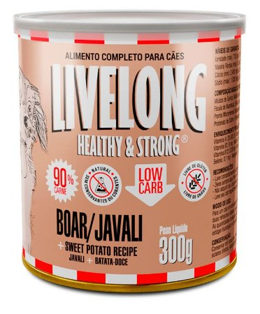 Alimento Natural Livelong Sabor Javali para Cães - 300G