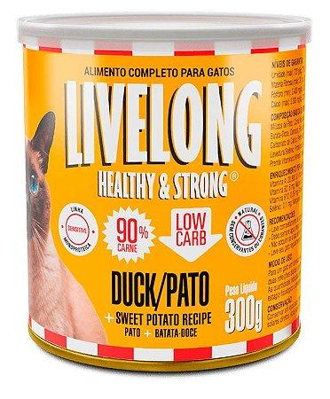 Alimento Natural Livelong Sabor Pato para Gatos - 300G