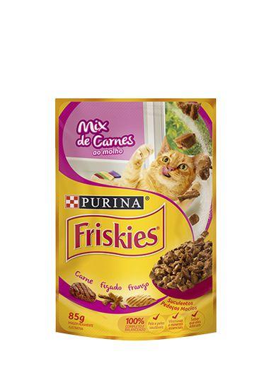Ração Nestlé Purina Friskies Sachê Mix de Carnes ao Molho para Gatos - 85g