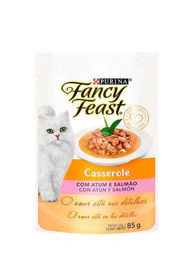 Ração Úmida Nestlé Purina Fancy Feast Sachê Casserole com Atum e Salmão para Gatos Adultos - 85G
