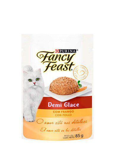 Racão Úmida Nestlé Purina Fancy Feast Sachê Demi Glace com Frango para Gatos Adultos - 85g