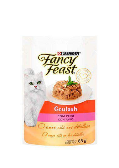 Racão Úmida Nestlé Purina Fancy Feast Sachê Goulash com Peru para Gatos Adultos - 85g