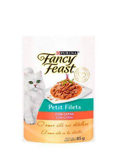Ração Úmida Nestlé Purina Fancy Feast Sachê Petit Filets com Carne para Gatos Adultos - 85g