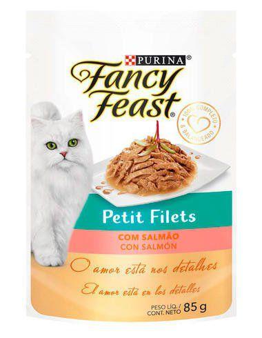 Racão Úmida Nestlé Purina Fancy Feast Sachê Petit Filets com Salmão para Gatos Adultos - 85g