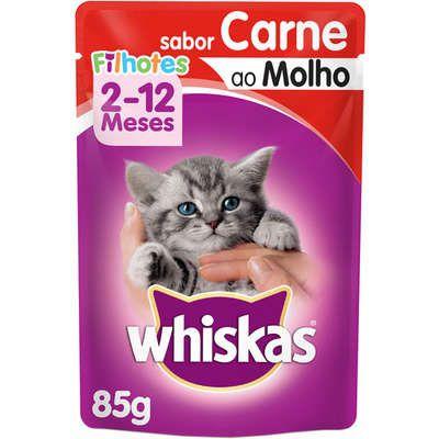 Ração Úmida Whiskas Sachê Carne ao Molho para Gatos Filhotes - 85g
