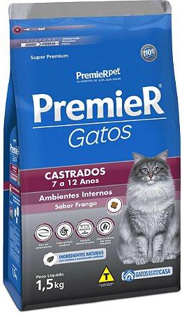 RAÇÃO PREMIER GATOS CASTRADOS AMBIENTES INTERNOS PARA GATOS COM 7 A 12 ANOS