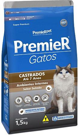 RAÇÃO PREMIER GATOS CASTRADOS AMBIENTES INTERNOS SABOR SALMÃO PARA GATOS COM ATÉ 7 ANOS