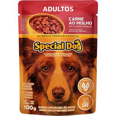 SPECIAL DOG ALIMENTO ÚMIDO SACHE SABOR CARNE AO MOLHO PARA CÃES ADULTOS