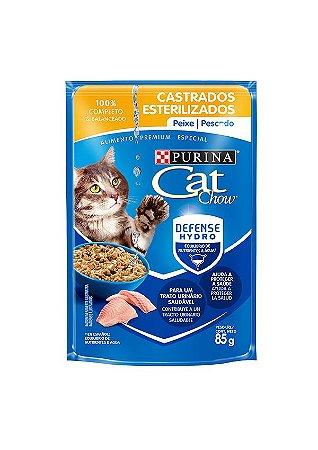 PURINA CAT CHOW SACHE SABOR PEIXE AO MOLHO PARA GATOS ADULTOS CASTRADOS 85G