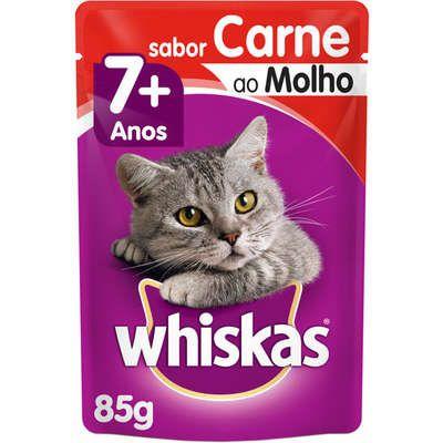 Ração Úmida Whiskas Sachê Carne ao Molho para Gatos Adultos Sênior 7 + Anos