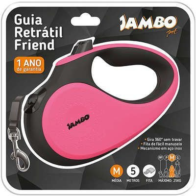 JAMBO GUIA RETRÁTIL FRIEND TAMANHO M COR ROSA - 5M