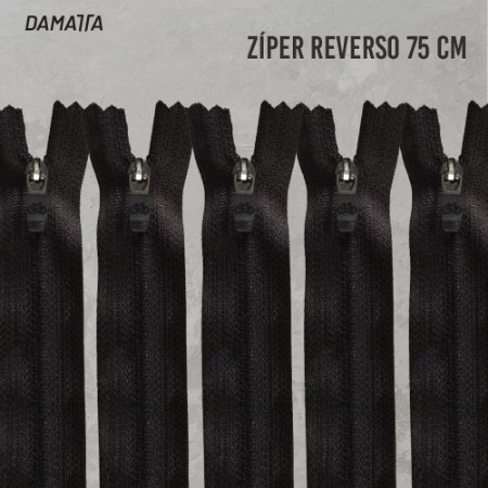 ZIPER SEMI-AUTOMÁTICO REVERSO DESTACAVEL - 75CM - PTO - 100 UNIDADES