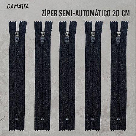 ZIPER SEMI - AUTOMATICO - 20CM - PRETO - 100 UNIDADES