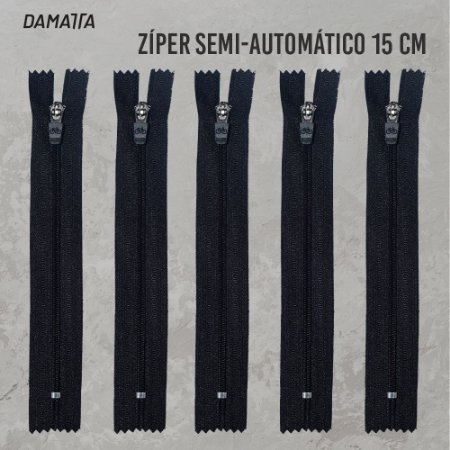 ZIPER SEMI - AUTOMATICO - 15CM - PRETO - 100 UNIDADES