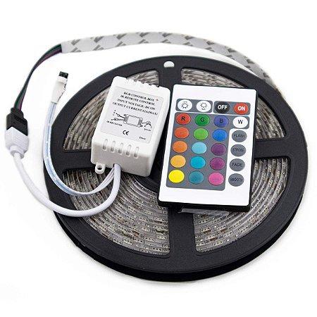 Fita de Led RGB 5050 Rolo 5m 300 Leds Ip65 + Controle