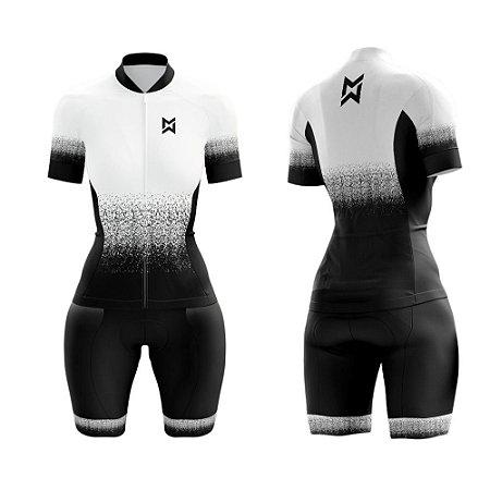 Macaquinho de Ciclismo Feminino Preto/Branco