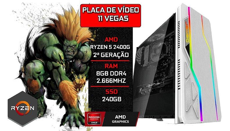 PC Gamer - Placa Mãe A320-M + RYZEN 5 2400G + 11 VEGAS Integrado + 8GB DDR4 2666Mhz + SSD 240GB