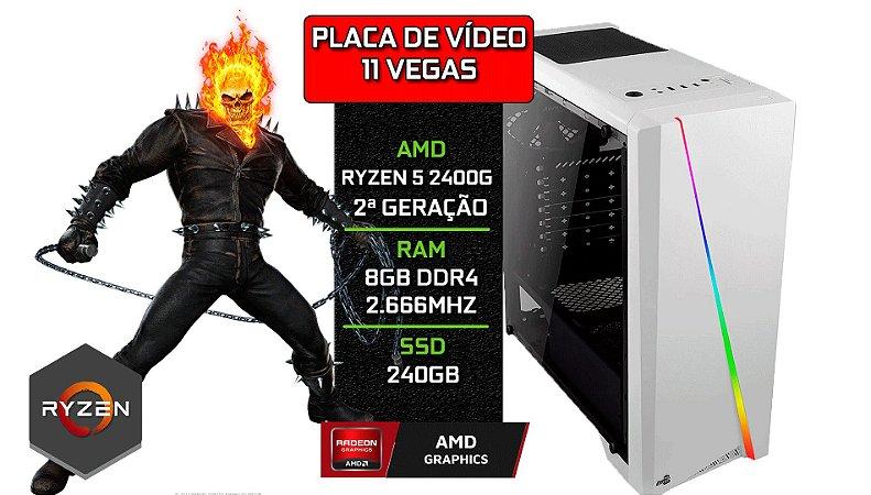 PC Gamer - Placa Mãe A320-M + RYZEN 5 2400G + 8GB DDR4 2666Mhz + SSD 240GB + 11 VEGAS Integrado