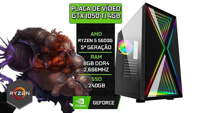 PC Gamer - Placa Mãe B450-M + RYZEN 5 5600G + 8GB DDR4 2666Mhz + SSD 240GB + GTX 1050 TI 4GB + 1 FAN RGB