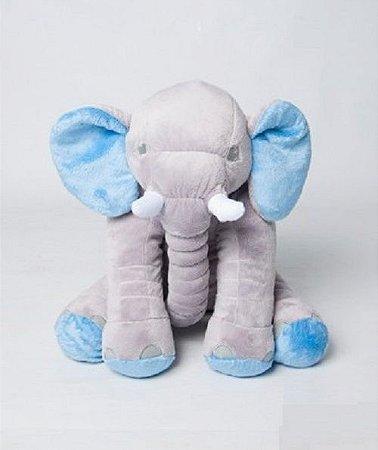 Almofada Elefante Dumbo Pelúcia 55cm Bebê  Cinza Com Azul