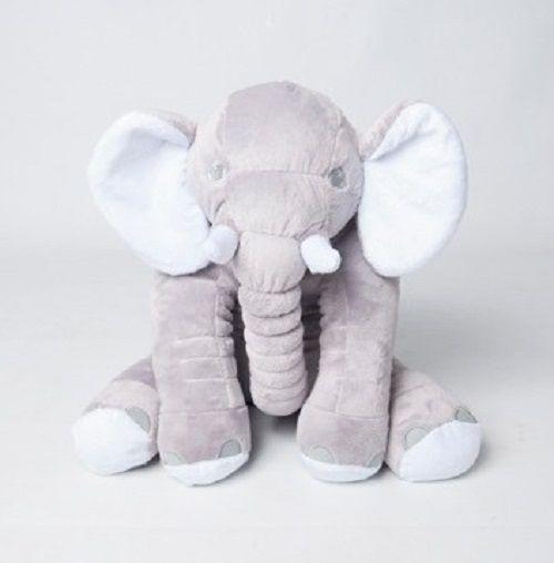 Almofada Elefante Dumbo Pelúcia 55cm Bebê  Cinca com Branco