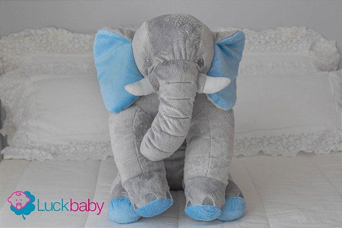 Almofada Travesseiro Elefante Bebê Pelúcia Cinza Azul 80cm
