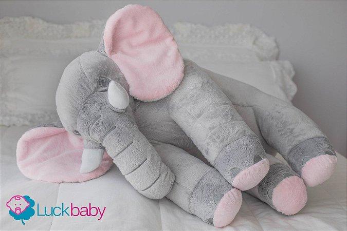 Almofada Travesseiro Elefante Bebê Pelúcia Cinza Rosa 80cm