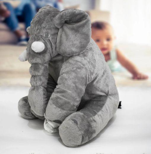 Almofada Elefante Pelúcia 45cm Travesseiro Bebê Antialérgico - Cinza