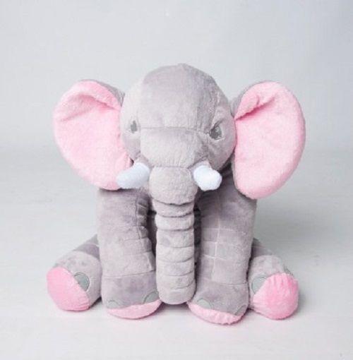 Almofada Elefante Pelúcia 45cm Travesseiro Bebê Antialérgico - Cinza Com Rosa