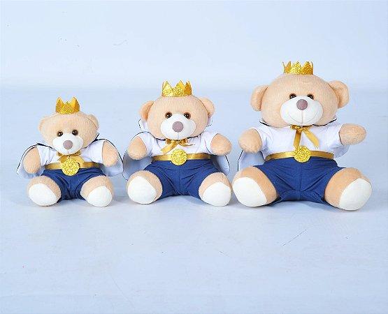 Trio De Ursinhos Para Nichos 15cm 20cm 25cm - Príncipe Azul Marinho