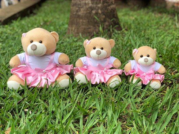 Trio De Ursinhos Para Nichos 15cm 20cm 25cm - Rosa